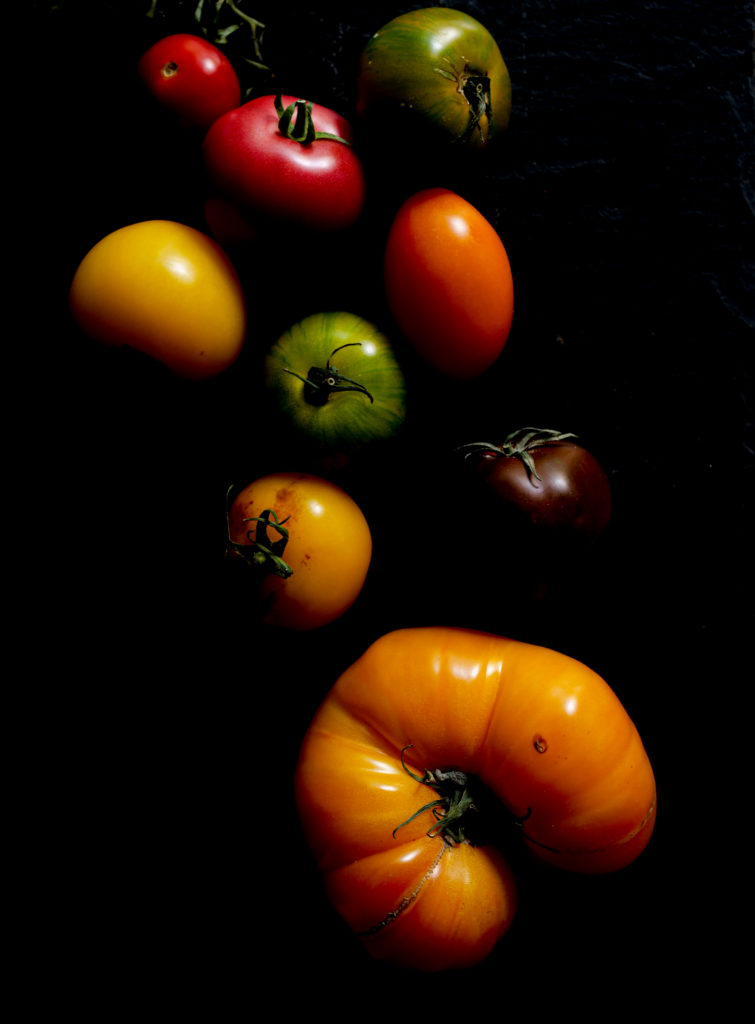 Tomates sur fond noir