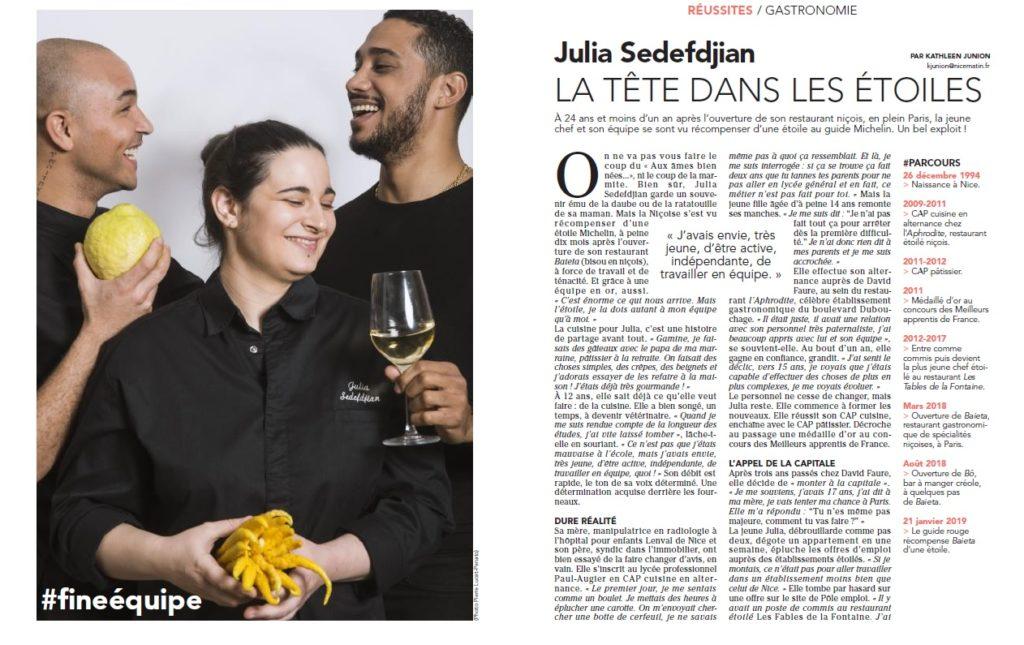 Julia Sedefdjian étoilée à 24 ans !