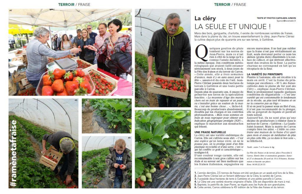 La fraise de Castagniers article pour Nice Matin